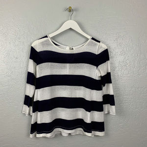 Ann Taylor Loft Size XS Navy blue White Wide Strip